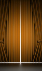 Yellow curtain stage cloth