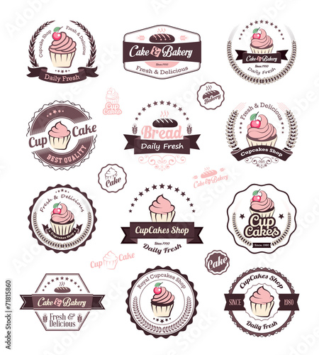 Fototapeta Vintage retro cupcakes bakery badges and labels