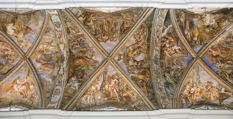 Ceiling of St. Bartholomew's Cathedral, Lipari, Italy.