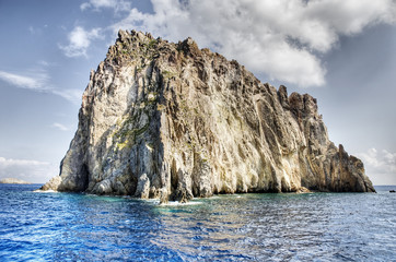 Small rocky island in the aeolian islands, Sicily, Italy.