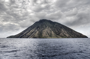 The volcano, Stromboli, in the aeolian islands, Sicily, Italy.