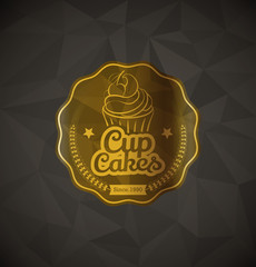 Cupcake food gold label over geometrical background