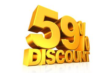 3D render gold text 59 percent discount.