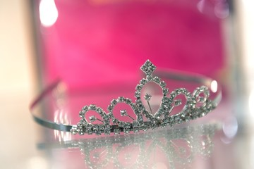 Tiara on glass