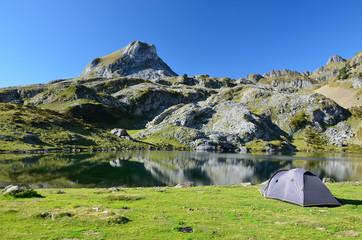 Camp at the mountain lake Roumassot