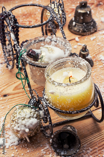 canvas print picture candle Christmas  on a stand with candles