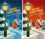 Old fashioned street light. Christmas card