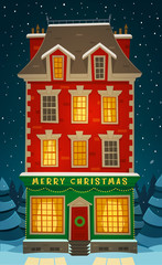 Old apartment english style house. Christmas card