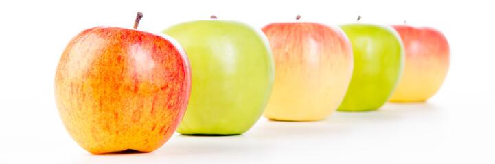 äpfel aufgereiht als banner