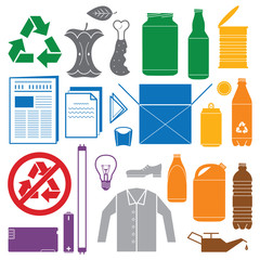 vector solid colors recycling and various waste color icons