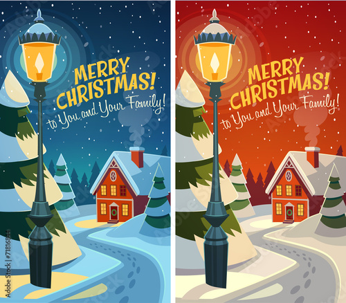 Old fashioned street light. Christmas card - 71816844