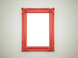 Red vintage mirror frame