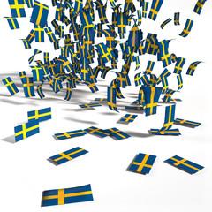 Viele Zettel und Flaggen aus Schweden