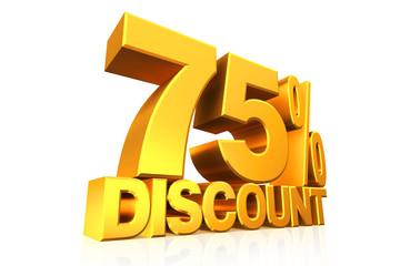 3D render gold text 75 percent discount.