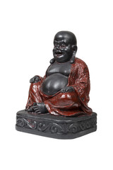 Black smiling Buddha isolated over white with clipping path.
