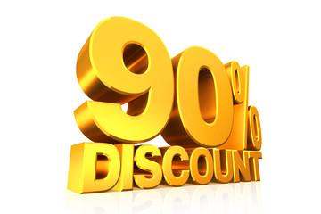 3D render gold text 90 percent discount.