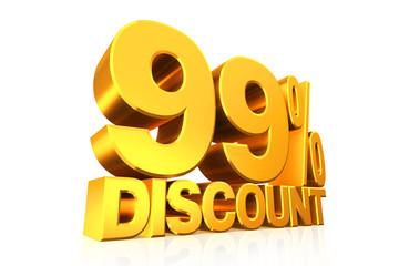 3D render gold text 99 percent discount.
