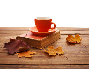 Autumn leaves, book and cup of tea on wooden table.