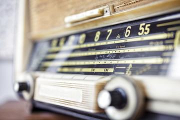Retro radio tuner close up