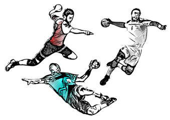 handball players vector illustration