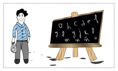 Profesor con pizarra con letras.