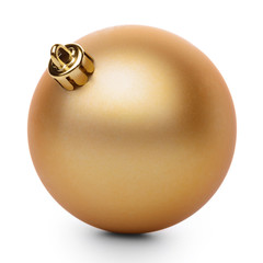 Golden christmas ball isolated on white background