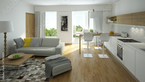 rendering of a modern living room with open kitchen poster