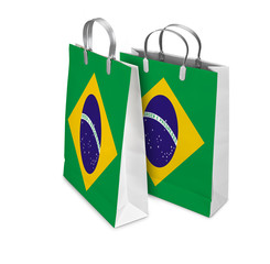 Two Shopping Bags opened and closed with Brazil flag. Retail bus