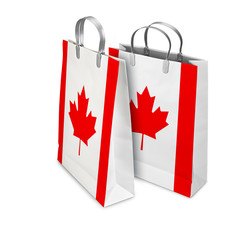 Two Shopping Bags opened and closed with Canada flag. Retail bus