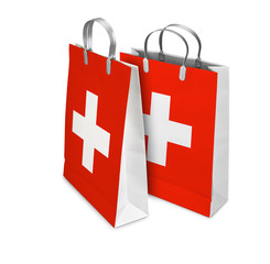 Two Shopping Bags opened and closed with Switzerland flag. Retai