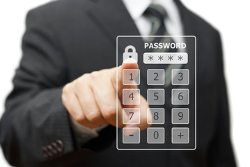 businessman touching   authorization interface window with a pas