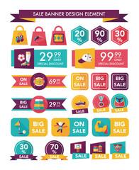Sport sale banner design flat background set, eps10