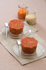 flan lentils with quinoa
