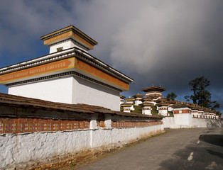 The 108 chortens on the Dochula Pass in Bhutan