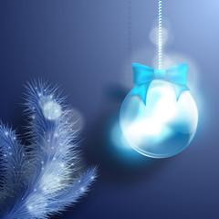 Christmas background with Christmas tree and Christmas ball