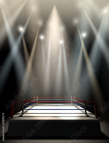 canvas print picture Boxing Ring Spotlit Dark
