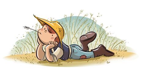 niño en el campo