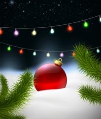 Christmas background with Christmas ball on the snow and garland