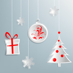 Christmas background with Christmas decorations made ??of paper