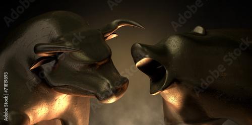 Foto Spatwand Dragen Bull And Bear Market Statues