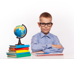 Cheerful Schoolboy ready to answer question