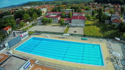 Swimming pool, aerial shot