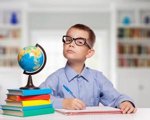 Cute schoolboy is writting indoor