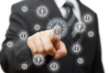 Businessman pressing virtual button on  screen. network,communit