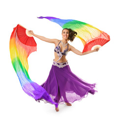 Beautiful belly dancer with multicolor shawl isolated on white b