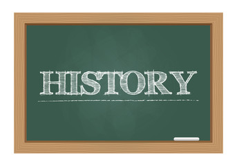 History text drawn on chalkboard