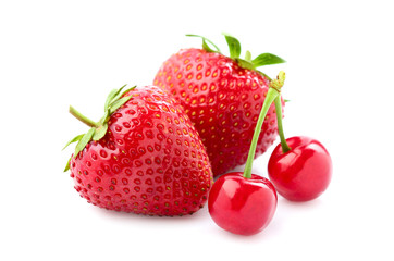 Beautiful strawberry and cherry.