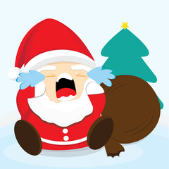 Santa claus crying.