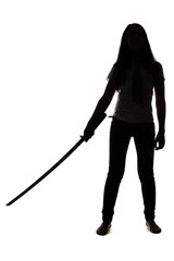 Silhouette of woman with sword