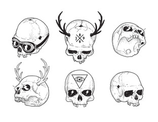 Dot Work Skulls Set